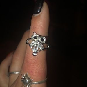 Owl ring sterling size 7